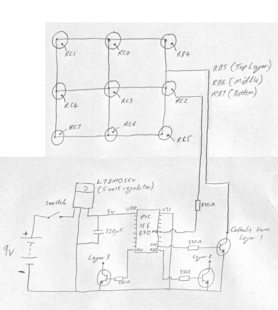 Snap Led Cube Schematic Diagram Circuit And Schematics Schema Pinterest On 3 Chaser 3x3x3 Using Pic16f690 Microcontroller