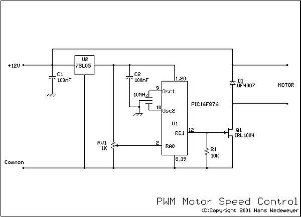 Schematic DC motor speed control