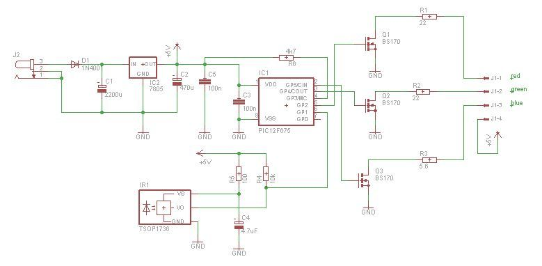 power pic rgb with infrared remote control using pic12f675 VFD Control Wiring Diagram infrared controls wiring diagram