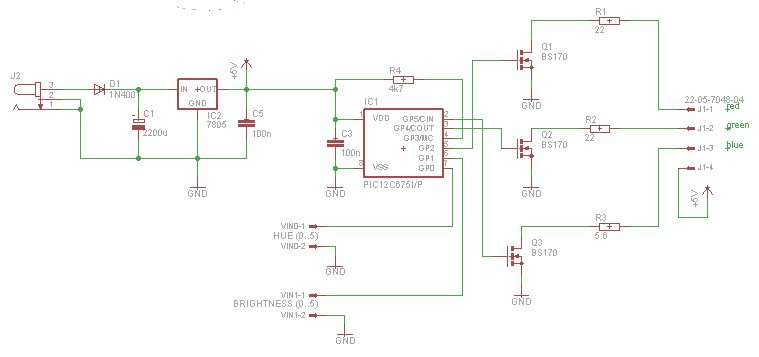 Power Pic Rgb With Voltage Control Using Pic12f675