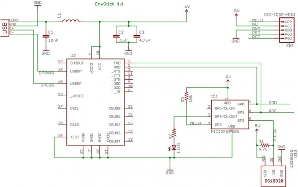 Schematic USB Temperature Sensor