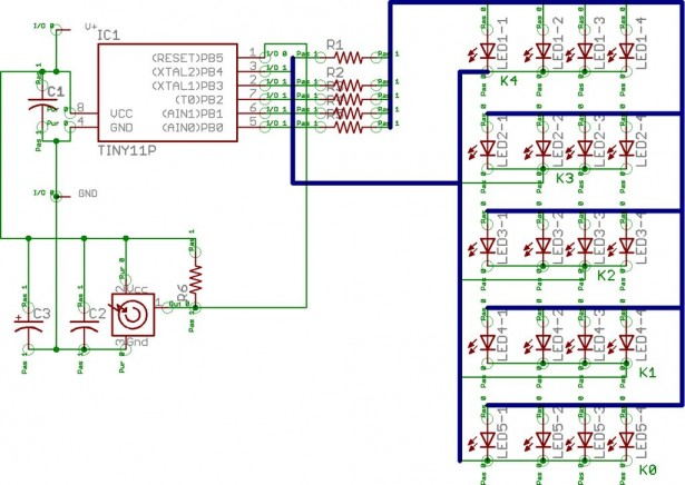 drive a lot of LEDs from a few microcontroller pins Schematic