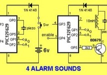 4 ALARM SOUNDS using PIC12F629