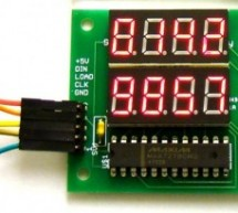 Dual 4-digit seven segment LED display with SPI interface using PIC12F