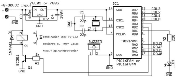Electronic combination lock Schematic