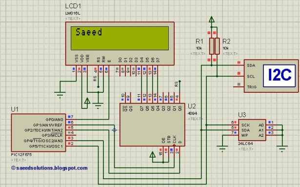 Interfacing of PIC12F675 with (i2c based) 24LC64 EEPROM  schematic