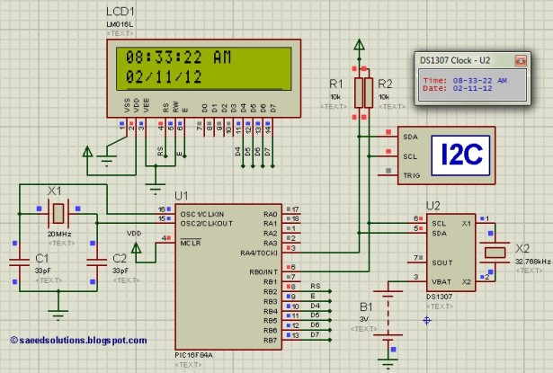 Interfacing of PIC16F84A with DS1307 schematic
