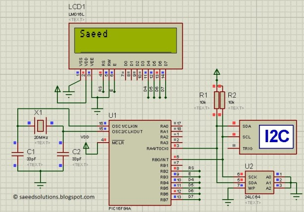 Interfacing of PIC16F84A with (i2c based) 24LC64 EEPROM Schematic