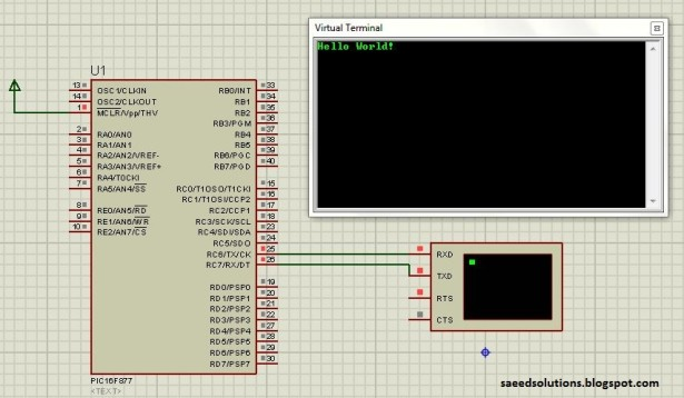 Interfacing with UART of PIC microcontroller schematic