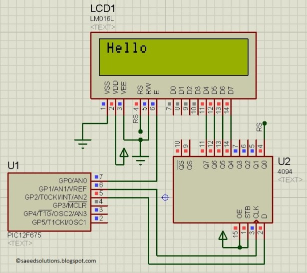 PIC12F675 LCD Interfacing schematic