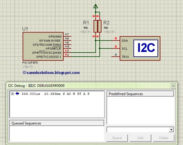 PIC12F675 i2c (bit banging) code and Proteus simulation schematic