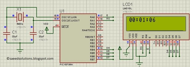 PIC16F84A based digital clock using LCD display schematic