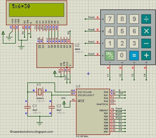 PIC16F84A based simple calculator schematic