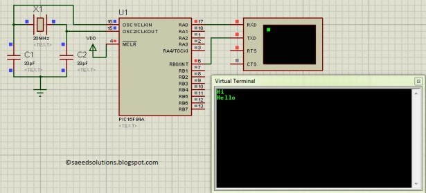 PIC16F84A interrupt based software UART Schematic