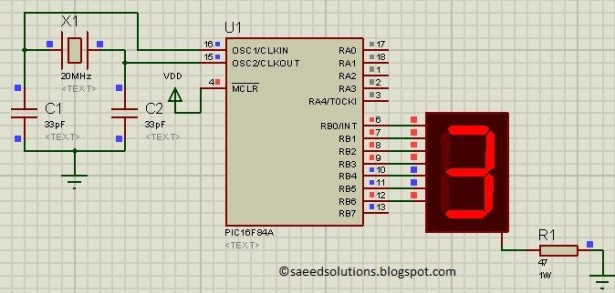 PIC16F84A using seven segment display schematic