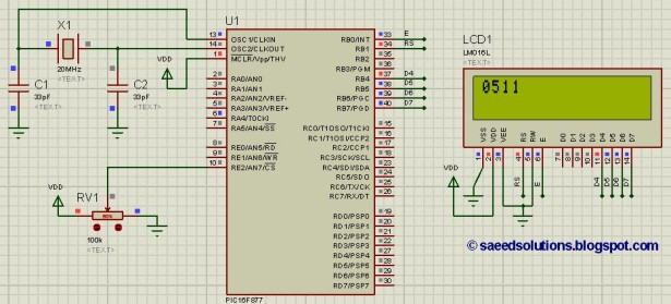PIC16F877 ADC code and Proteus simulation schematic