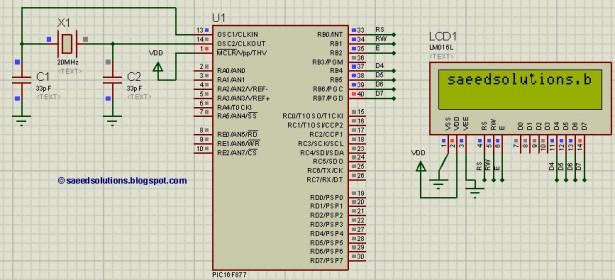 PIC16F877 LCD schematic