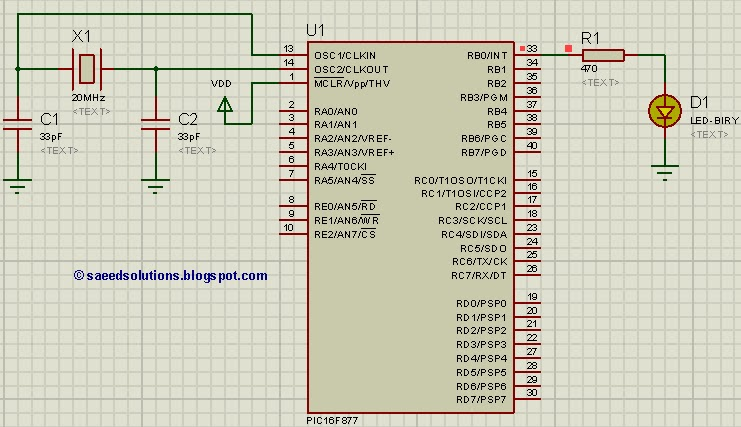 PIC16F877 LED blinking schematic