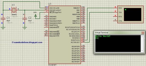 PIC16F877 UART schematic