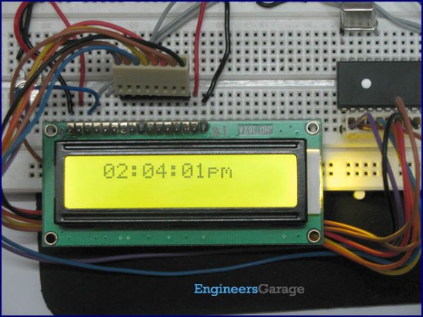PIC16F877 based digital clock using LCD display
