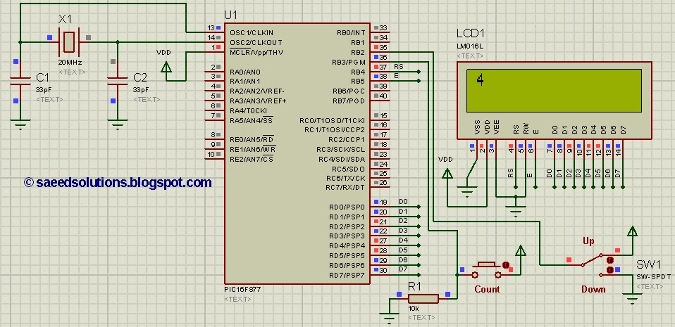 Pic16f877 Up Down Counter Code And Proteus Simulation
