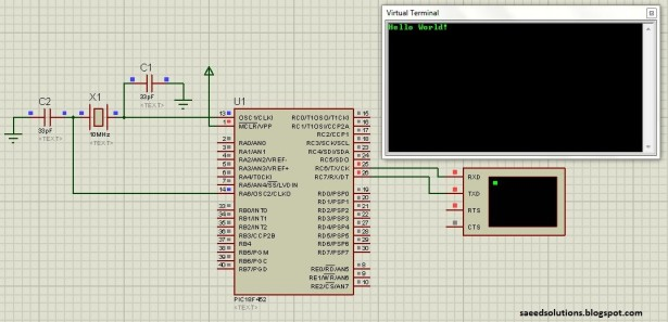 PIC18F452 UART schematic