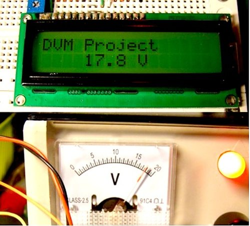 Simple Digital Voltmeter (DVM) using PIC12F675