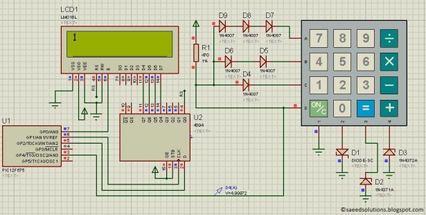 interface keypad with PIC12F675 schematic