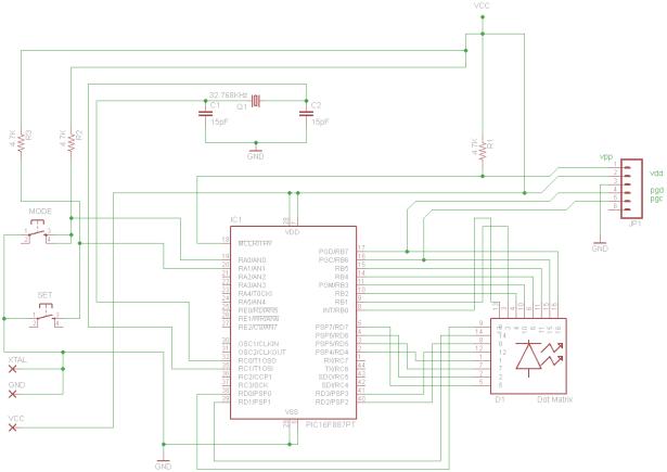 Digital Clock using PIC16F887 schematic