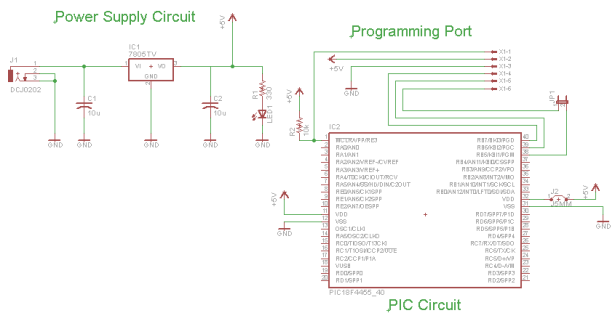 Mini PIC Dev Board schematic