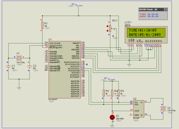 Simple Clock using DS1307 and PIC16F877A schematic