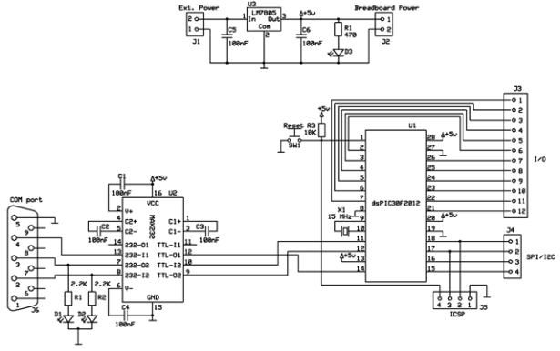 dsPIC30F2012 breadboard schematic
