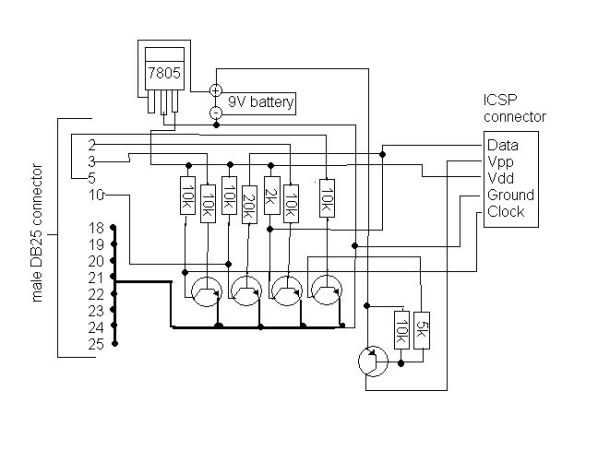 5 transistor PIC programmer Schemetic