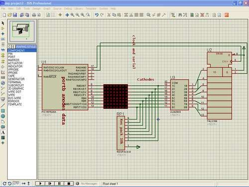 Led matrix project using shift register and pic16f628a micro