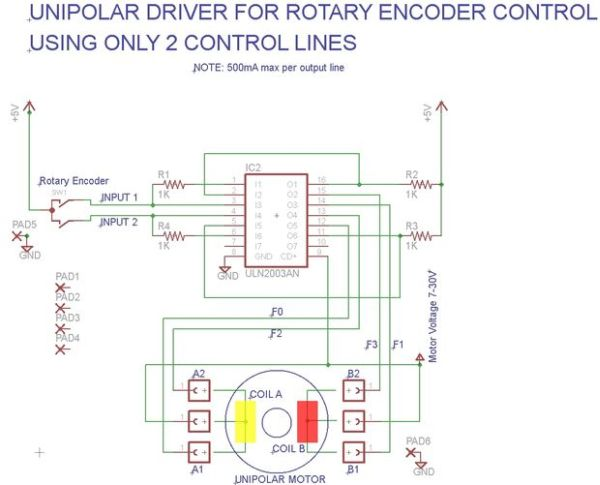 Simple manual control of stepper motors without a pic or pc for Stepper motor position control