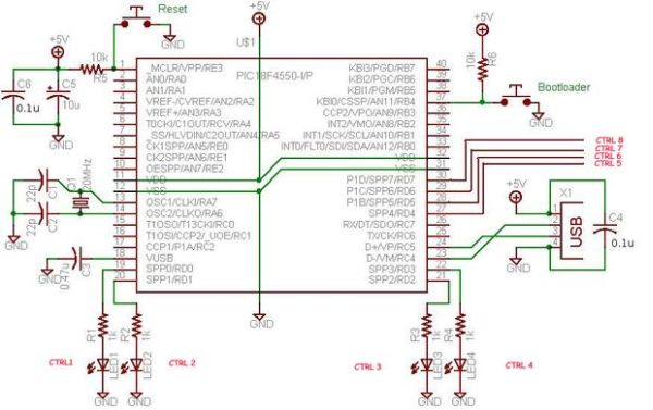 USB Interface Board Using PIC18F4550 Schemetic