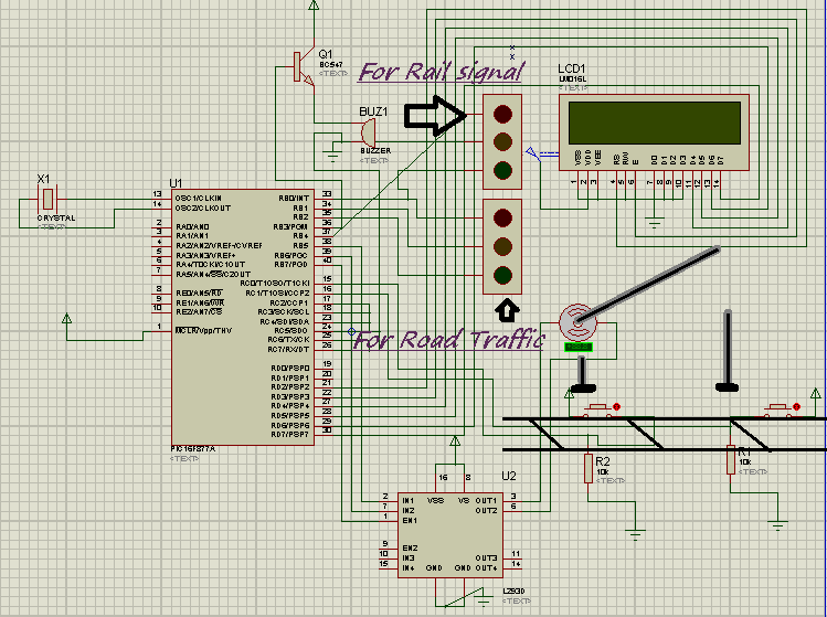 Automated Railway Gate Controlled by PIC16F877A schematic