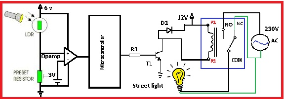 Automatic street light control by pic microcontroller circuit