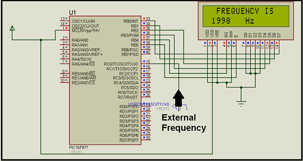 Digital frequency meter by PIC microcontroller schematic