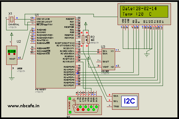 Digital thermometer with auto saving log file in excel by Pic microcontroller schematic