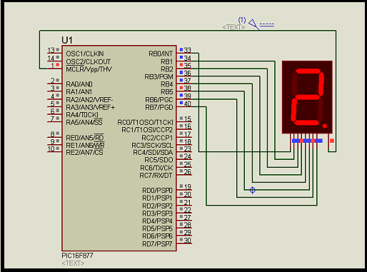 Interfacing 7 segment display with pic16f877 microcontroller schematic