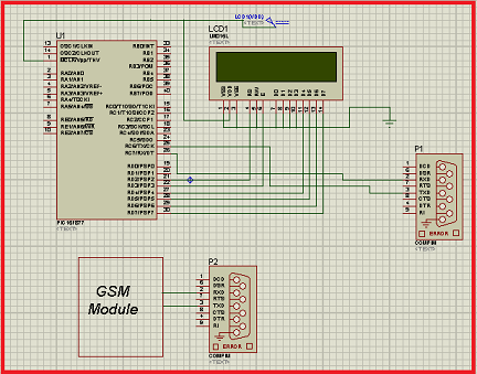 Interfacing GSM module with PIC Microcontroller schematic