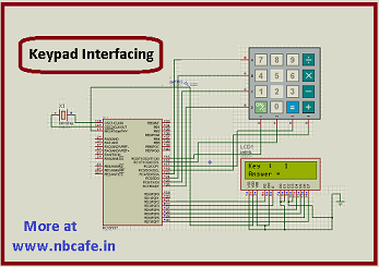 Keypad scanning and interfacing with PIC16f877 microcontroller schematic