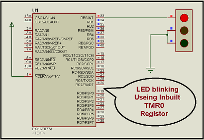 LED blinking using timer0 of pic16f877 microcontroller
