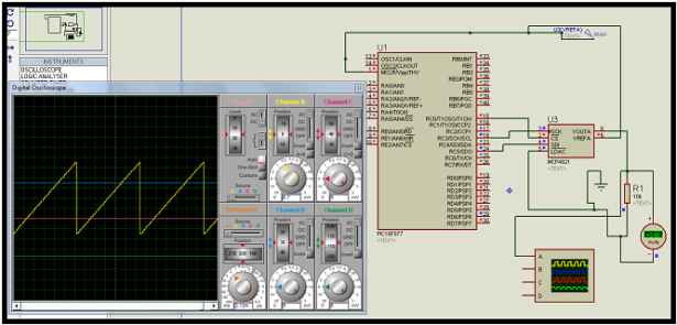 MCP4921 12 bit DAC interfacing with PIC16F877 microcontroller via SPI Connectivity schematic