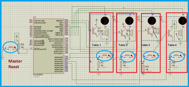 PIC microcontroller based fastest finger press quiz buzzer project schematic
