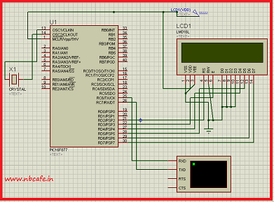 Serial communication with Pic 16f877 using UART circuit