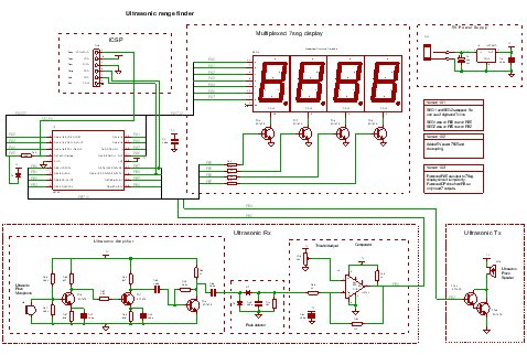 A PIC Ultrasonic distance meter project using a Seven Segment display and a PIC micro Schemetic