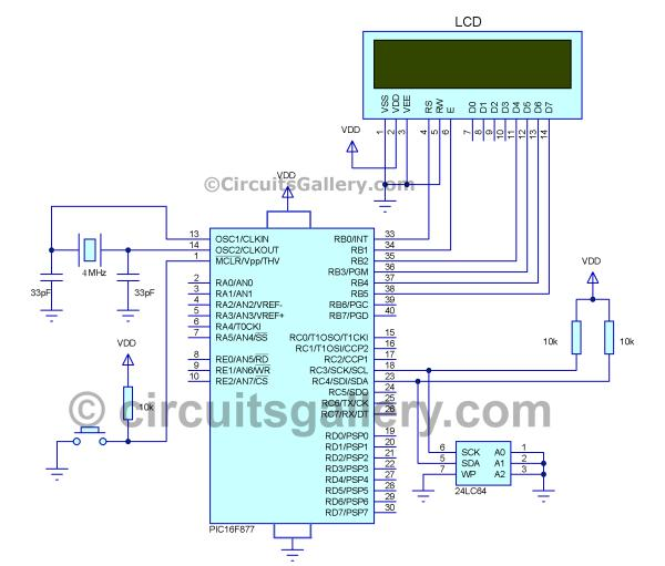 How to Interface I2C External EEPROM 24LC64 to PIC Microcontroller