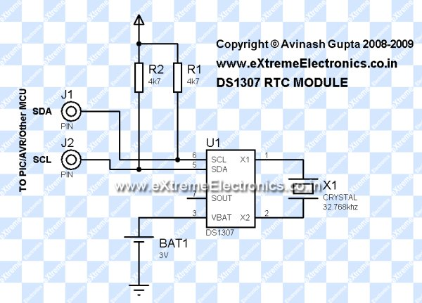 Interfacing DS1307 RTC Chip with AVR Microcontroller Schemetic